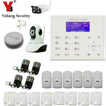 YobangSecurity Outdoor IP Camera WIFI GSM GPRS House Burglar Intruder Alarm System Wireless Smoke Fire Detector Android IOS APP 2018 wifi alarm gsm gprs sms wireless home security intruder alarm system with hd wifi ip camera smoke detector