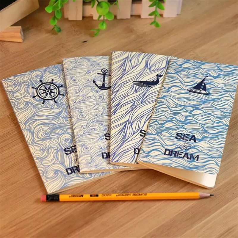 1pcs/lot 173*90mm Vintage Sea Dream Series Navy Style Kraft Paper Notebook Korea Style Agenda Diary Blank Inner Planner