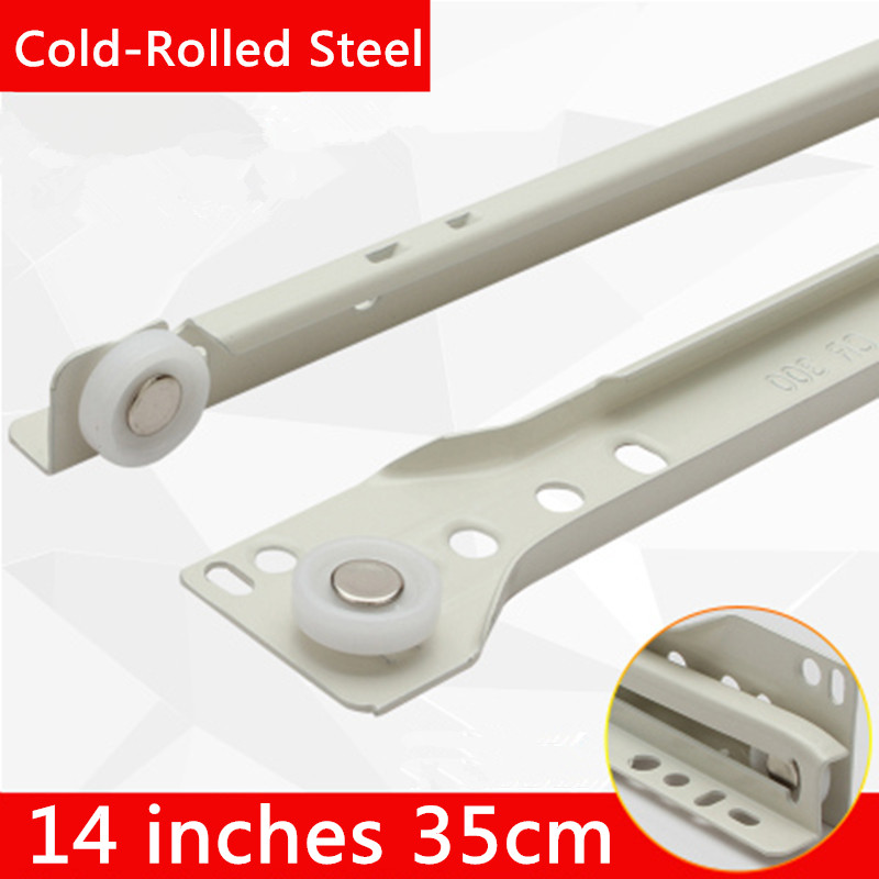 2 pairs 14 inches 35cm Knock-down Two Sections Furniture Slide Cold-Rolled Steel Drawer Track Slide Guide Rail accessories keyboard drawer slide rail slide chute underpinning guide pulley white mute two rail track