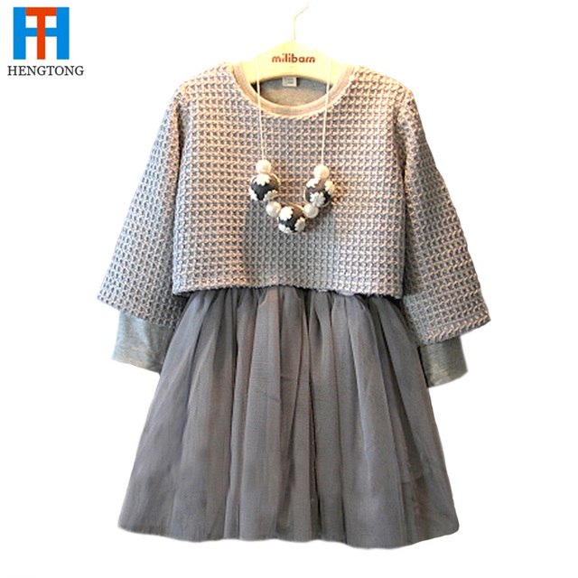 2016 Spring Baby Girl Clothing Set Plaid Children Suit 2PCS Long-Sleeve Knitted Sweater + Mesh Skirt Princess Sweet Twinset