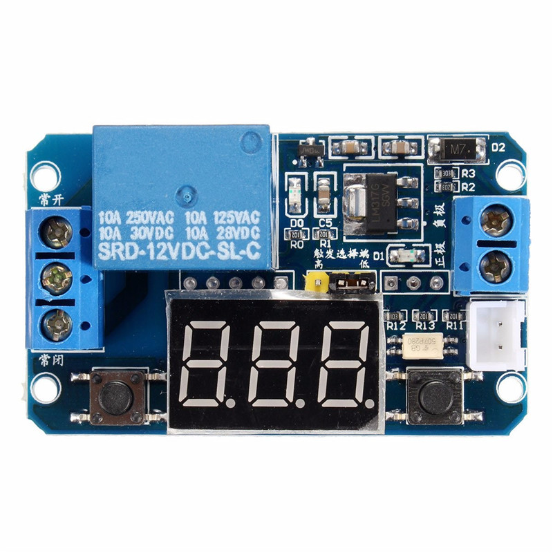 12V LED Display Digital Programmable Timer Timing Relay Switch Module Stable Performance Self-lock Board 12v timing delay relay module cycle timer digital led dual display 0 999 hours