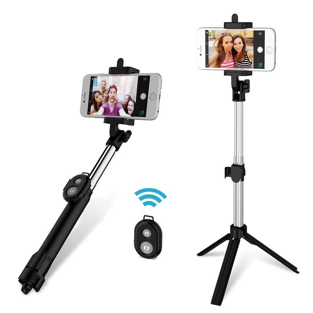 Foldable Mini Selfie Stick Self Bluetooth Selfie Stick+Tripod+Bluetooth Shutter Remote Controller for iPhone Android