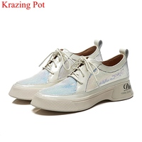 2019 bling round toe sequined cloth lace up casual shoes increasing sneaker concise platform spring women vulcanized shoes L2