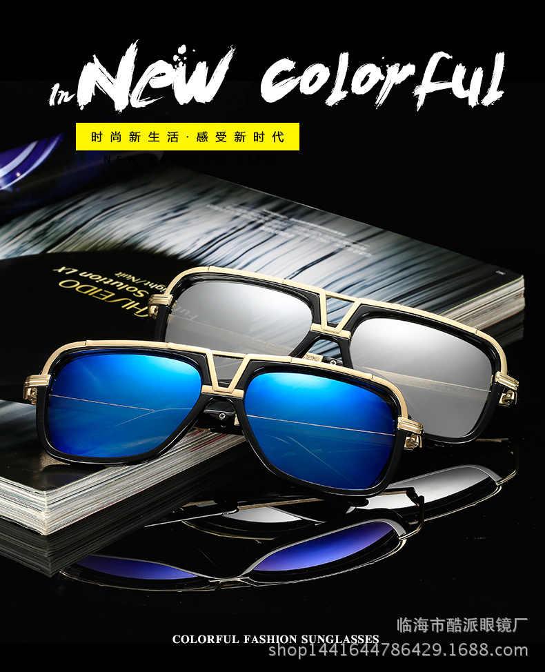 Marque de luxe surdimensionné hommes mach lunettes de soleil femmes femmes lunettes de soleil carré mâle rétro de sol femme brun lunettes de soleil Double faisceau