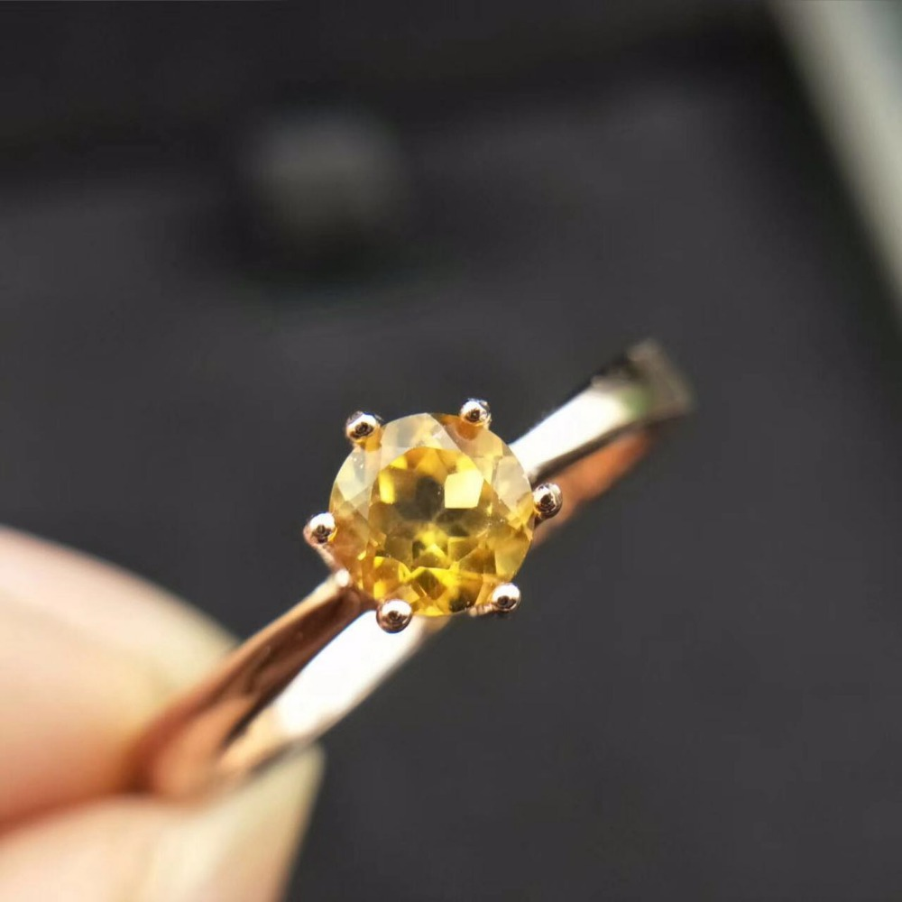 natural citrine gemstone ring 5mm*5mm natural citrine silver ring solid 925 sterling silver yellow crystal ring
