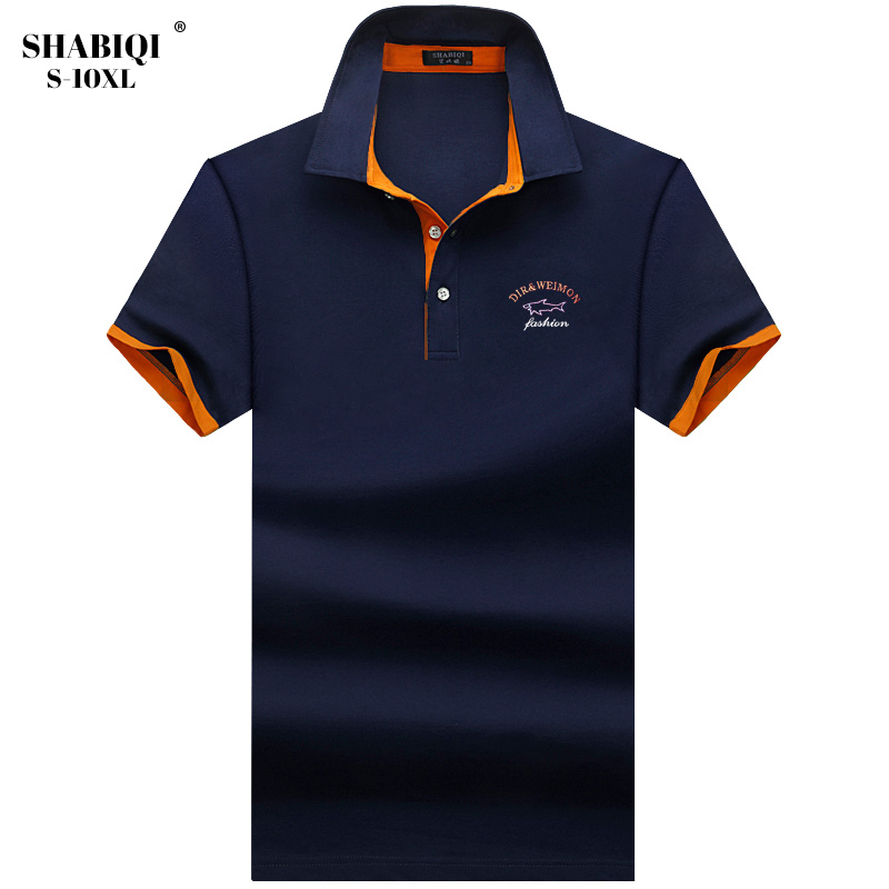 Plus Size S-10XL   Polos   Mens embroidery   POLO   Shirts Cotton Short Sleeve Camisas   Polo   Casual lapel Collar Male   Polo   Shirt 5XL