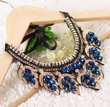 2015 chocker popular false blue collar necklace Mother's gift statement pendent necklace crystal jewelry rhinestone choker