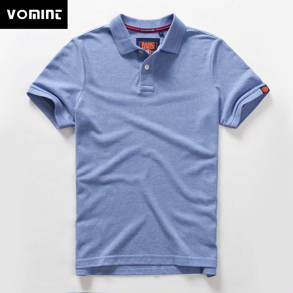 Vomint 2019 Summer Mens   Polo   shirts Cotton Shirts Short Sleeve Letter Embroidered Emblem Simple Shirt for Male BP6900