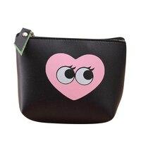 10 cái (HỘI CHỨNG TỰ KỶ Phụ Nữ Cô Gái Dễ Thương Zip Da Coin Purse Wallet Bag Thay Đổi Pouch Key Card Holder, đen Love Heart
