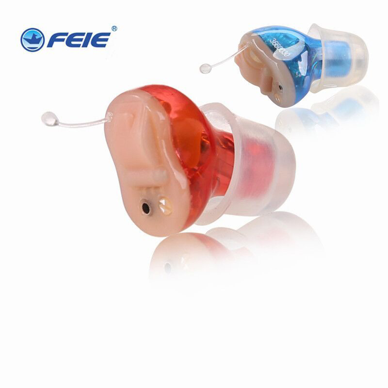 2 PCS/lot Blue Left Ear Red Right Ear As Seen On TV Digital CIC Invisible Hearing Aid Old People Products Free Shipping S-11A 2 pcs lot blue left ear red right ear as seen on tv digital cic invisible hearing aid old people products free shipping s 11a