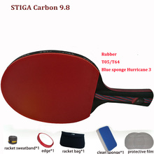 New Update Table tennis racket pat set Carbon Hybrid Wood 9.8 rubber 05/64+Blue sponge Hurricane 3,ping pong paddle FastShipping