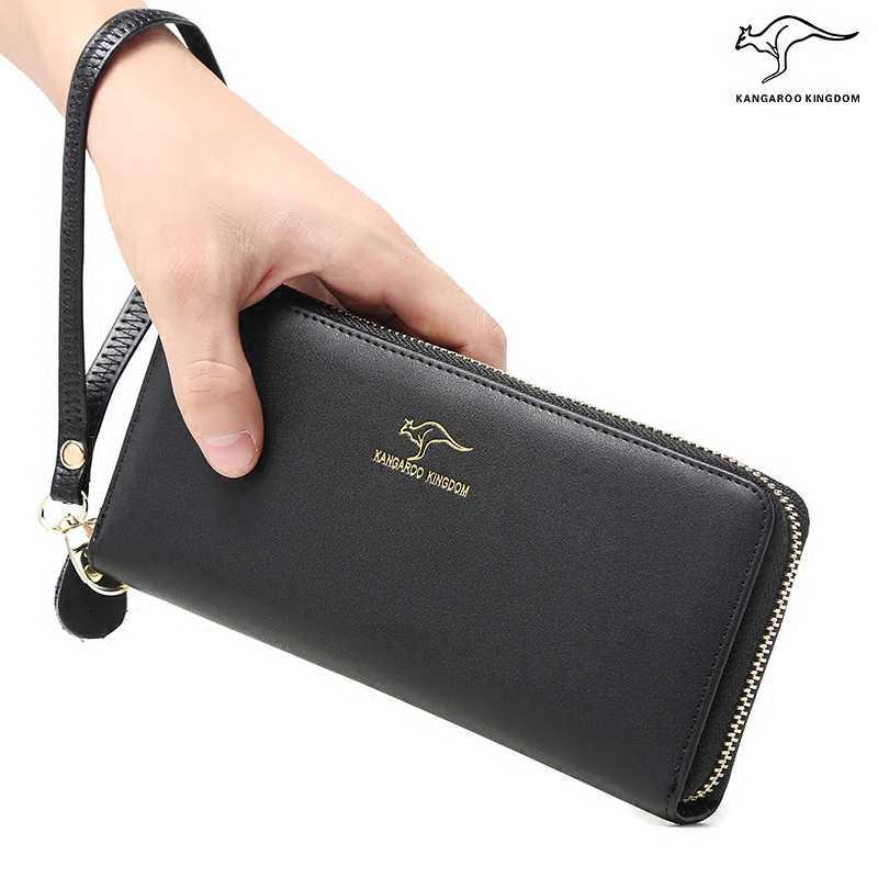 KANGOEROE KONINKRIJK modemerk vrouwen portefeuilles split lederen lange rits clutch portemonnee organisator portemonnee