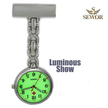 2017 SEWOR Hot Fashion Nurse Table Pocket Watch with Clip Brooch Chain Quartz Yellow Surface Pocket Watch Sliver C175