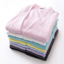 Summer Cotton Towel Bath Robe Dressing Gown Unisex Men Women Waffle Sle