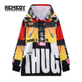 Harajuku OverSize Sweatshirt 2016 Women Fashion Patchwork Pullover Hoodie Hoodies Letter Print Long Sleeve Casual Hip Hop Coat