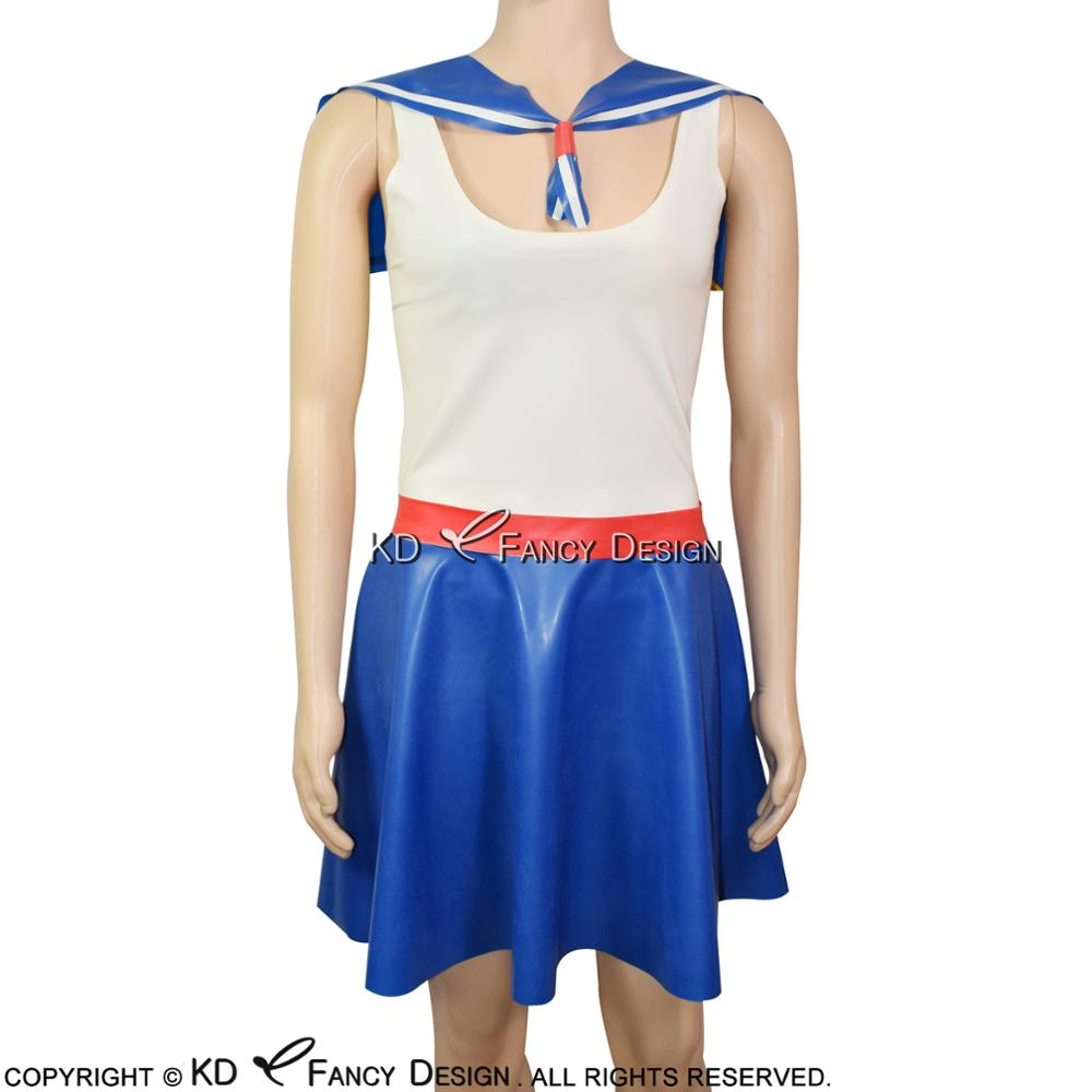 Blue With White Sexy Mini Sailor Latex Dress With Red Belts Sleeveless Rubber Unifrom Playsuit Bodycon LYQ-0043