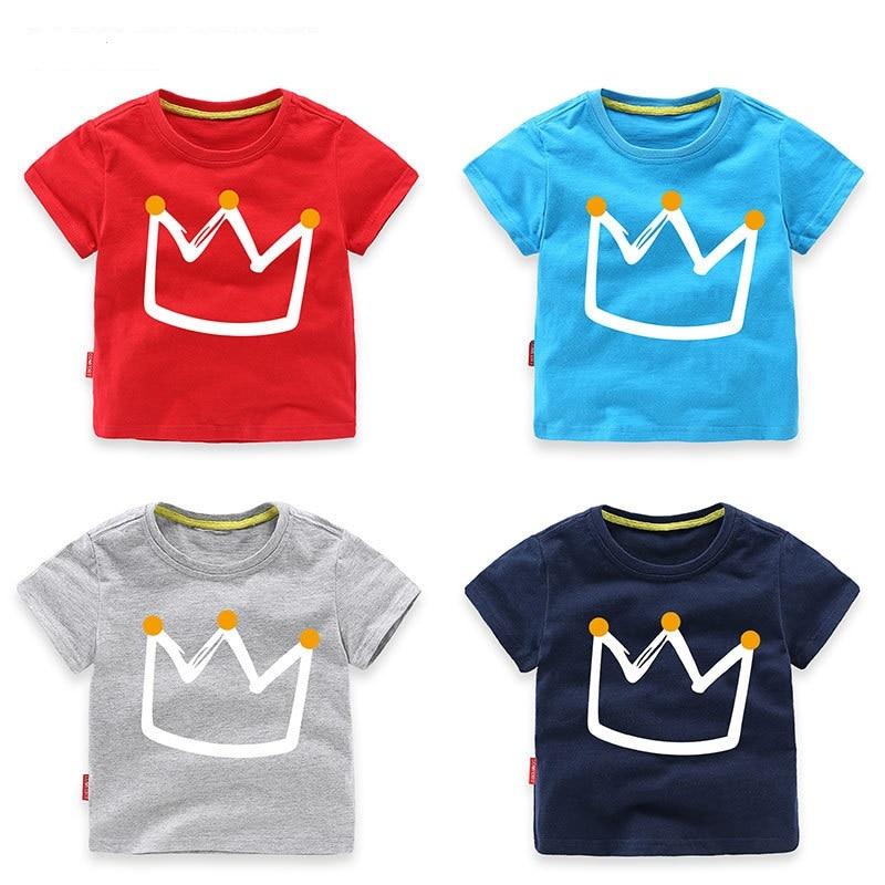 0b86694c1d Verano Casual de bebé de algodón niños camisetas corona impresión niños  camisetas ropa de los niños para la edad de 1-8 años de edad