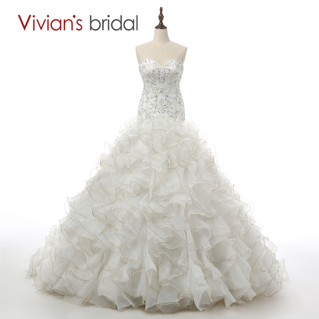 4ea46dc8bdb8 Vivian's Bridal 2016 100% Real Photo Luxury Crystal Beaded Mermaid Wedding  Dresses Sexy Sweetheart Trumpet Wedding Dress JR01