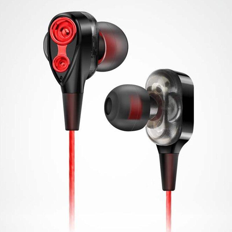 """Quad core פעולה כפולה טבעת אוזניות בס 3.5 מ""""מ באוזן חוט מבוקר מוסיקה HIFIi מתכת עם מיקרופון אוזניות עבור טלפון Xiaomi"""
