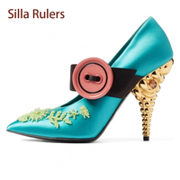 Silla Rulers Newest Spring Shallow Single Shoes Women Pumps Mixed Color Button Shoes Beading Strange Heel