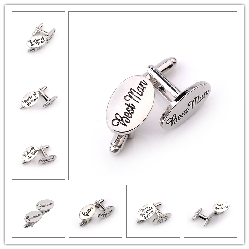 13 Style Men's Fashion Silver Oval Wedding Jewelry Cufflinks Groom/Best Man/Best Friend French Shirt Cuff Links High Quality best quality