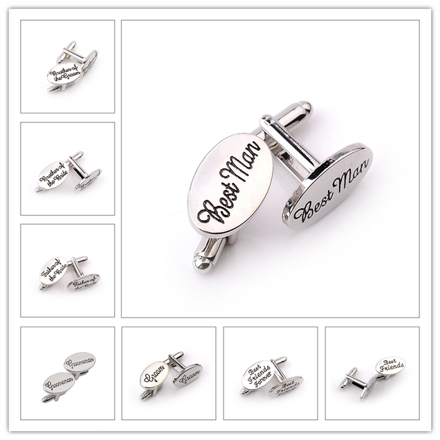 13 Style Men's Fashion Silver Oval Wedding Jewelry Cufflinks Groom/Best Man/Best Friend French Shirt Cuff Links High Quality