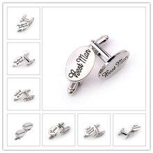 13 Style Men's Fashion Silver Oval Wedding Jewelry Cufflinks