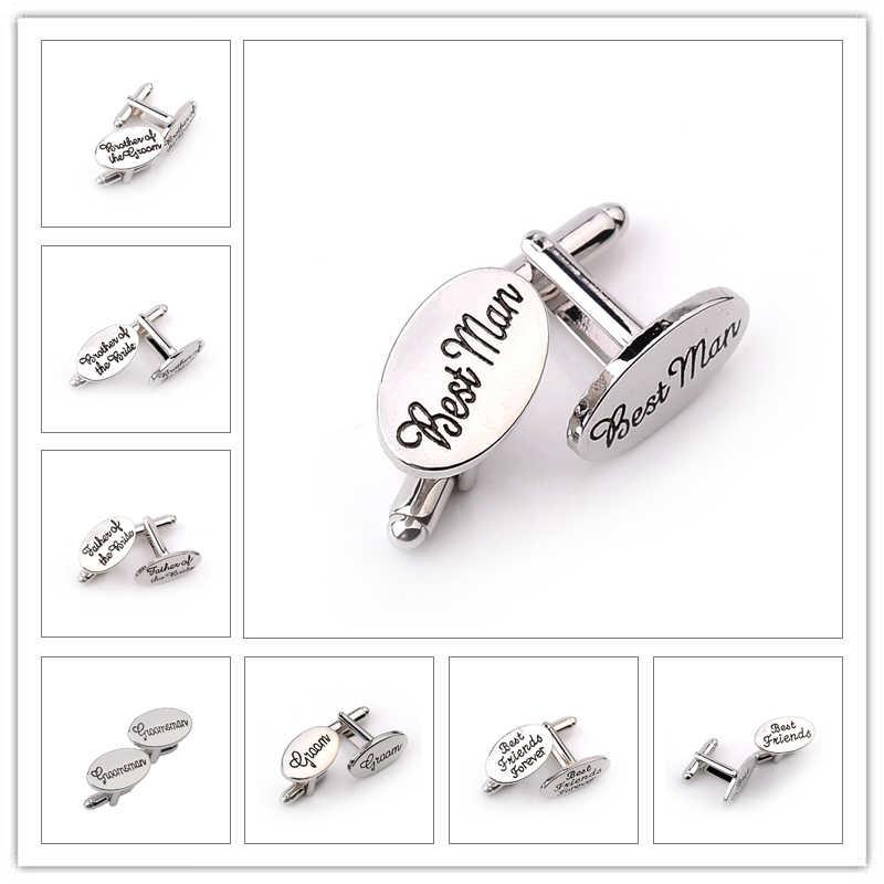 13 stil erkek moda Oval düğün takısı kol düğmeleri damat/en iyi erkek/en iyi arkadaş fransız gömlek kol düğmeleri yüksek kaliteli