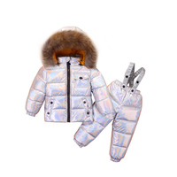 2019 russian winter degree down jacket for boy girls child coat , new year baby winter suit children's overalls parka snow wear