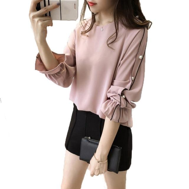 046ebe08bae 2019 Новый шифон блузки рубашка плюс Размеры M-4XL корейский Для женщин топы  Blusa Бисер