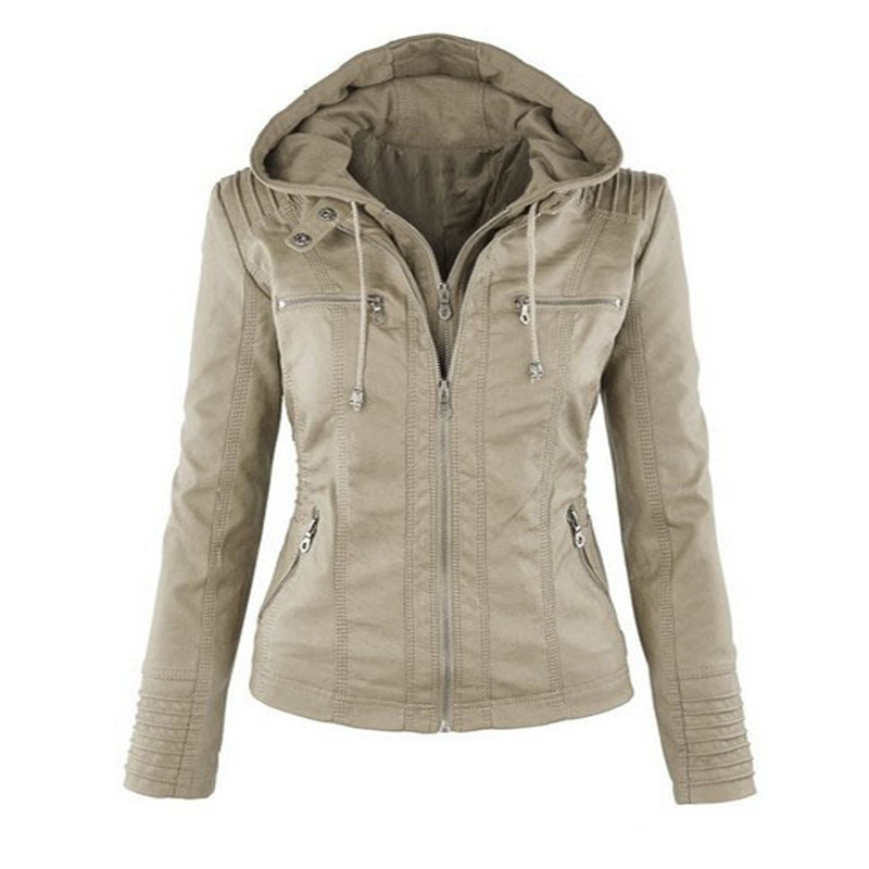 2018 Faux Leather Jacket Women Coats Slim Female PU leather Jackets Hooded Zip-up Leather Jacket