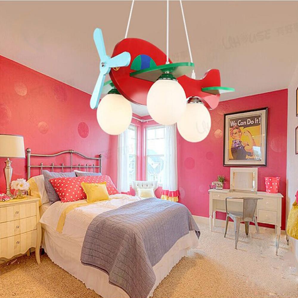 Resin aircraft baby room wood chandelier Led acrylic 3 head pendant lamp modern chandelier Led children