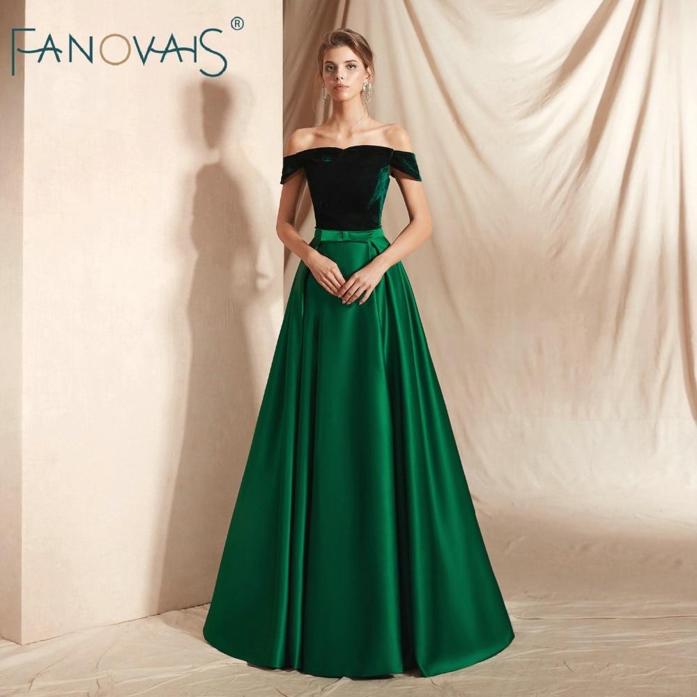 Green Velvet Evening Dresses Long Vestidos De Fiesta De