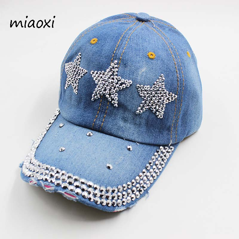 miaoxi High Quality New Fashion Women Baseball Cap Denim Cotton Adjustable Summer Hat Sun Casual Adult Female Snapback Sale miaoxi new fashion women summer adjustable casual baseball cap adult red hat letter caps for men cotton snapback hip hop hat