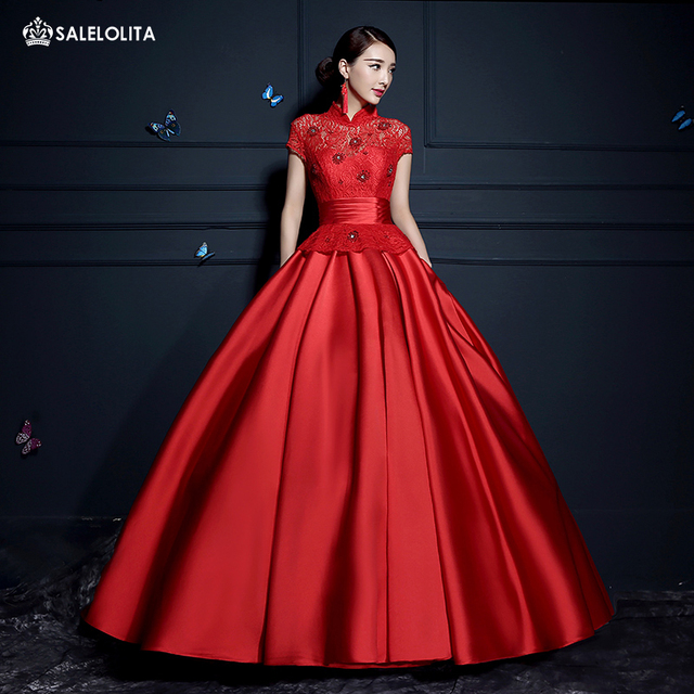Palace Classics Slim Fit Ball Gown Big Red Long Satins Dresses ...