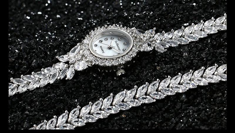 16 50M Waterproof Selberan Gold/Silver Natural Zircon Wrist Watch for Women Luxury Ladies Bracelet Watch Montre Femme Strass 18