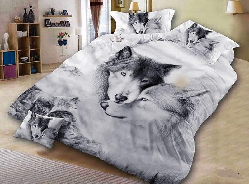 c324f1f6f 3D lobo cinza gêmeo da rainha do rei roupas de cama de casal capa de  edredão set conjunto de cama