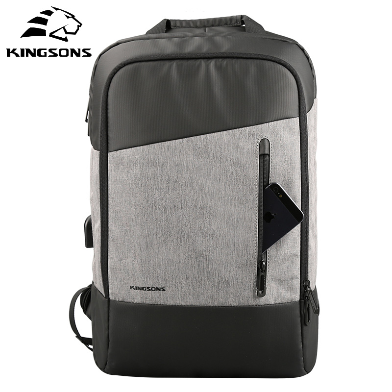 Kingsons 15.6 Inch Laptop Backpack Men Travel Bags Usb Charge Backpack Male Waterproof Bag for Teenager Fashion High Capacity grizzly new laptop backpack men for teenager boys fashion large capacity mochila multifunction travel bags waterproof school bag