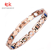 Oktrendy Luxury Crystal Bracelet Healthy Magnetic Bracelet For Women Pain Relief 4in1 Germanium Therapy Bracelets Jewelry escalus 2018 magnetic health bracelet for women 100% pure titanium 4in1 magnets negative ions germanium far infra red bracelet