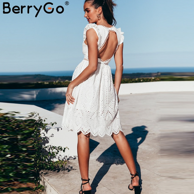 BerryGo Sexy White Women Summer Dress 2018 Hollow Out V Neck Embroidery Cotton Dress Party Backless Knee-length Female Vestidos