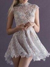 2016 neuer Heißer Verkauf Mode Beliebte A-linie/Princess High Neck Sleeveless Bördelndes Kurz/Mini Silber Spitze Party/Cocktailkleider
