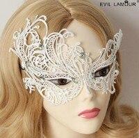 Gothic lolita księżniczka Masquerade party księżniczka białe koronki pół twarzy maski Halloween noc seksowna MJ-11 zdobią artykuł