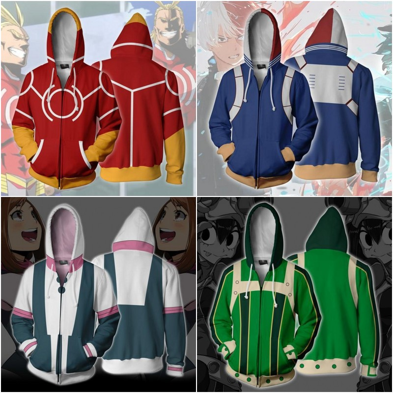 3D My Hero Academia Sweatshirts Plus Size Uniform Men Women Hoodies Cosplay Costume College Clothing Top New 2019 Hoodie
