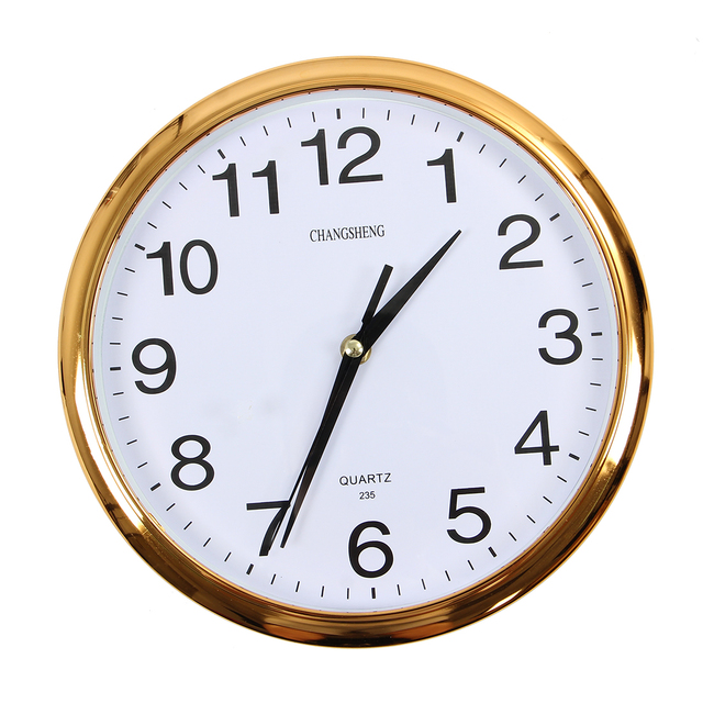 Large Vintage Round Modern Home Bedroom Retro Time Kitchen Wall Clock Quartz Gold