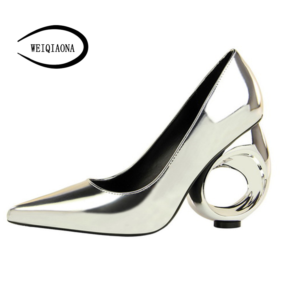 WEIQIAONA New fashion Women's single shallow shoes catwalk Patent leather high heels shaped tube hollow Ladies pumps Party shoes weiqiaona european 2018 women new fashion show leather snake skin rhinestone flowers high heel sandalss sexy ladies party shoes