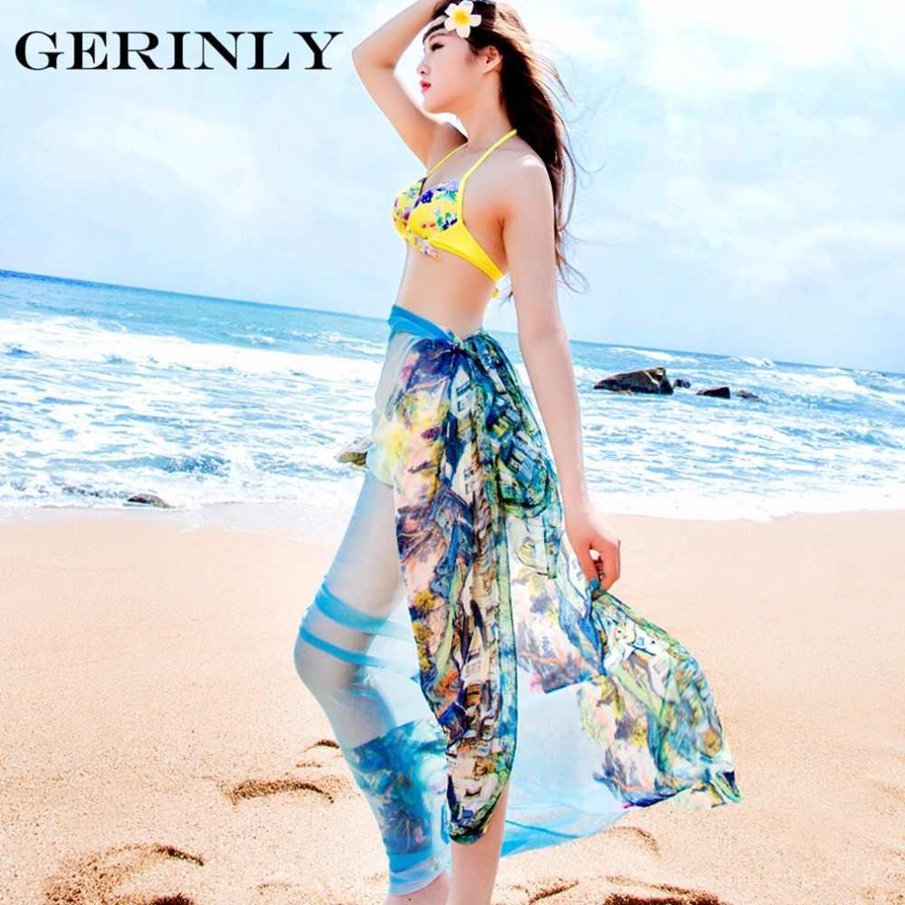 efc19fd1efec8 ... Scarves Pareo Sexy Women's Chiffon Sarongs Summer Bikini Scarf Swimsuit  Dress Beach Cover Up Tunic Wraps