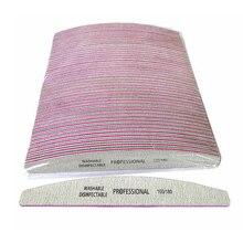 50 stks/partij Nagelvijlen 100/180 Schuurpapier Schuren Buffer Professionele Nagelvijl Grey Boot Salon Nagels Manicure UV Gel Tips Gereedschap