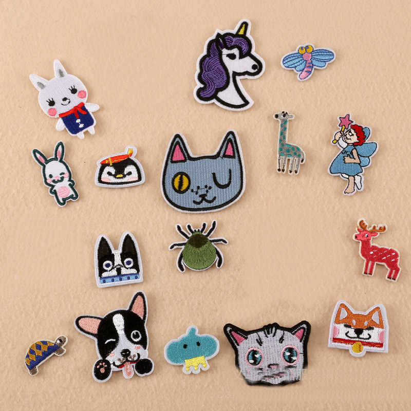 Many Small Animal Head Repair Badge Patch Embroidered Patches For Clothing Iron On For Close Shoes Bags Badges Embroidery DIY