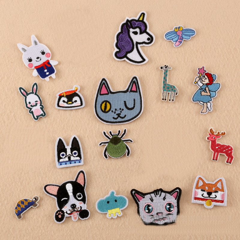 Many Small Animal Head Repair Badge Patch Embroidered Patches For Clothing Iron On Close Shoes Bags Badges Embroidery DIY