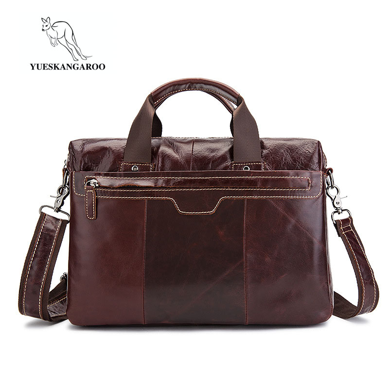 YUESKANGAROO Elegance Business Men Briefcase Bag Genuine Leather 14 inch Laptop Men Bag Casual Man Shoulder Bags maleta 8013